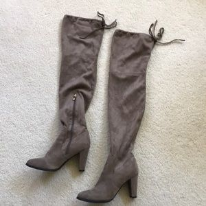 Catherine Malandrino taupe over the knee boots 9